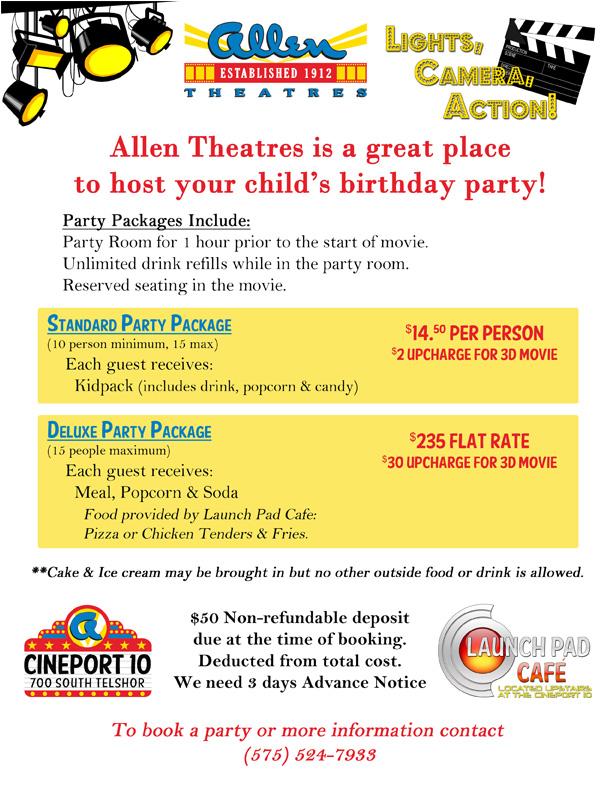 Regal Cinemas Birthday Party Pricing